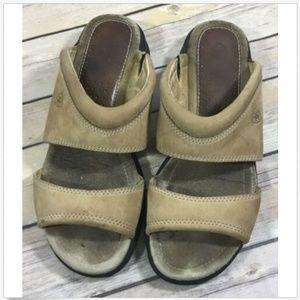 Ariat Slip On Open Toe Tan Leather Slide Sandals 8